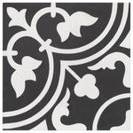 SomerTile - SomerTile Cemento Arte Encaustic Cement Handmade Floor and Wall Tile, Coal - Capture the beauty of authentic, traditional cement tiles with the SomerTile Cemento Arte Coal Encaustic 8 in. x 8 in. Cement Handmade Floor and Wall Tile. These tiles are constructed of cement, offering a partial through-body coloring. Each tile is hand-crafted by taking a 1 in. cement base, pouring color into a mold, pressing the color with a hydraulic press and then allowing it to cure for a number of days. The result is a completely one of a kind look that may produce natural variations or chips, which are characteristics of true cement tile. This design is inspired by our encaustic look series, Arte, and features snow white and charcoal hues. These durable tiles can be used in a variety of interior settings. Be sure to pair these with other tiles in the coordinating Cemento series for a unique look. It is necessary that you seal your cement tiles. Please follow the link for the cement tile sealing guide found to the right of this text for information. Tile is the better choice for your space. This tile is made from natural ingredients, making it a healthy choice as it is free from allergens, VOCs, formaldehyde and PVC.