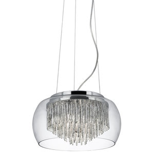 Curva Modern Clear Glass Pendant With Aluminium SPIRal Tubes