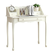 Monarch Unique Sleek Style Antique White Traditional 36 Secretary Desk Furniture 3103