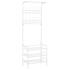 Modern Free Standing Clothes Stand, Metal With 20-Hook and 3 Open Shelves, White