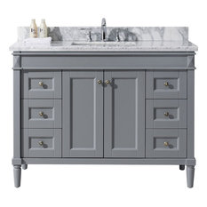 "Tiffany 48"" Single Bathroom Vanity Set, Gray"