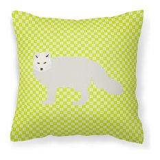 White Arctic Fox Green Fabric Decorative Pillow