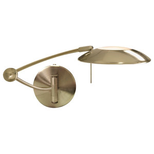 Adjustable Swing Arm Wall Light, Antique Brass
