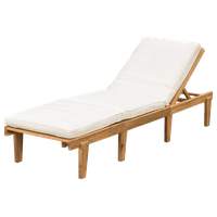 GDF Studio Paolo Outdoor Teak Brown Wood Chaise Lounge With Cushion