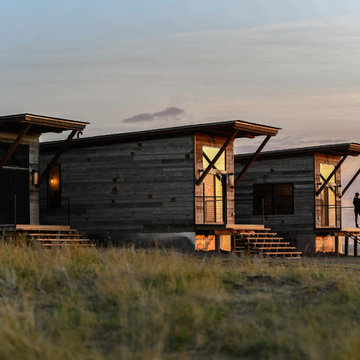 Upcycled Shipping Container Homes with Rustic Corral Board Natural Wood Siding