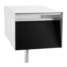 Modern Mailbox, Back Opening, Black, Standard Post, No Flag