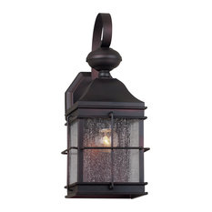1 Light Outdoor Wall Lantern, Antique Bronze, Clear Seeded Glass Panels