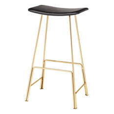 Kirsten Leather Stool Seat: Black Frame: Polished Gold Counter Height