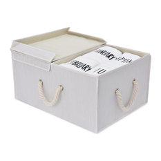 Storage Works:Fabric Storage Bin w/Cotton Handles & Double-Open Lid, Ivory (65L)