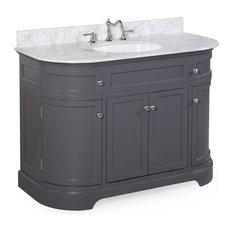 "Montage 48"" Bath Vanity With Carrara Top, Charcoal Gray"