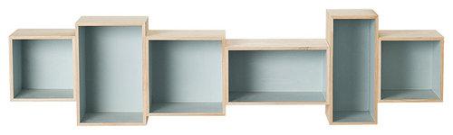 Paulownia Bokhylla, Blå - Display & væghylder