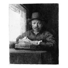 Rembrandt Van Rijn Rembrandt Drawing at a Window Gallery Wrapped Canvas Print