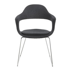 """""""Frenchkiss"""" High-Back Dining Chair With Chrome Frame, Black, Felt"""