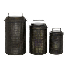 "Set of 3 Black Metal Farmhouse Canisters, 7.25"", 9.5"", 11.5"""