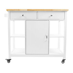 Contemporary Kitchen Island Cart, Center Cabinet and Open Shelves, Natural Top,