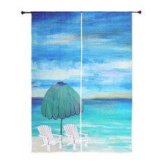 Beach Art Sheer Curtains, Sea Breeze Beach