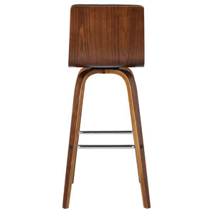 "Armen Living Vienna 26"" Barstool, Walnut Wood Finish With Gray PU Upholstery"