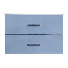 Eviva Daytona 24-inch Blue Wallmount Bathroom Vanity With Integrated Porcelain Sink