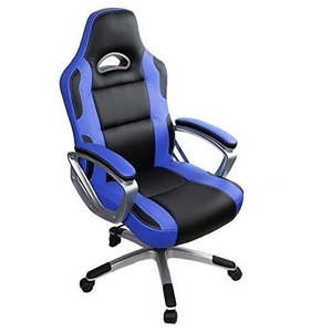 Modern Gaming Chair Upholstered, PU Leather With Extra Padded Seat, Blue