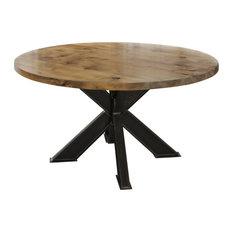 "Round Steel X-Base Pedestal Table, Harvest Wheat Finish, 66"" Round"