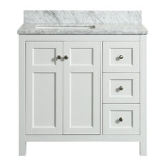 Adley White Bathroom Vanity With Marble Top, 36''