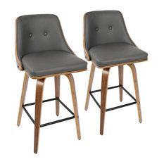 """Lumisource Gianna Counter Stools, Walnut With Gray Faux Leather, 26"""", Set of 2"""