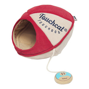 Touchcat Saucer Oval Collapsible Walk-Through Pet Cat Bed House, Red