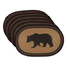 Wyatt Stenciled Bear Jute Placemat Oval Set of 6 12x18