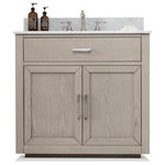 "Urban Furnishing - Grace Bathroom Vanity with Sink, Carrara Marble Top, Antique Gray, 36"" - The Grace Bathroom Vanity Collection was inspired by the 1950's era minimalist design that captures clean lines, crisp geometry and contrasting use of mix material and color pertaining to that period.  Premium quality construction detailed with a rich Antique Gray Oak veneer meticulously handcrafted and hand finished.  Designed with a Plinth Base that creates an illusion of a floating effect and made from solid wood, brushed stainless steel hardware, dovetail joints and many higher-end options.  Available in 36"", 42"", 48"" and 60"""