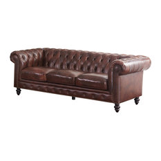 Grand Chesterfield Leather Sofa, Brown