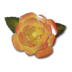 THE ROSE Large Metal 3D Rose Stake 4 Colors, Yellow