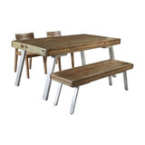 Dj Ford Retro 4-Piece Dining Table Set With Chairs And Bench