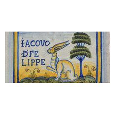 "Rabbit Rectangle Tile, San Donato, Made in Castelli, Italy, 4""x8"""