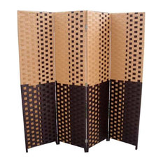"Brown/Espresso Brown Paper Straw Weave 4-Panel Screen on 2"" Legs, Handcrafted"