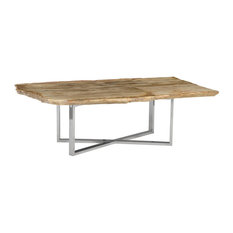 53-inch Wide Coffee Table Rustic Petrified Wood Modern Stainless Steel Brown