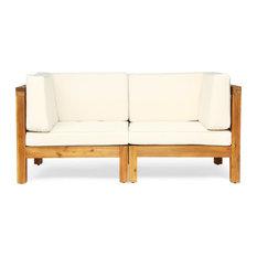 GDF Studio Keith Outdoor 2-Seater Acacia Wood Sectional Loveseat Set, Teak Finis