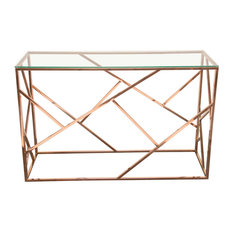 Nest Rectangular Console Table With Clear Tempered Glass Top, Rose Gold