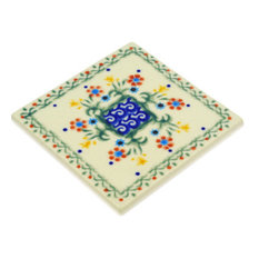 "Polish Pottery 4"" Stoneware Tile Hand-Decorated Design"