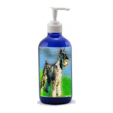 Standard Schnauzer, Cobalt Blue Glass Lotion Dispenser