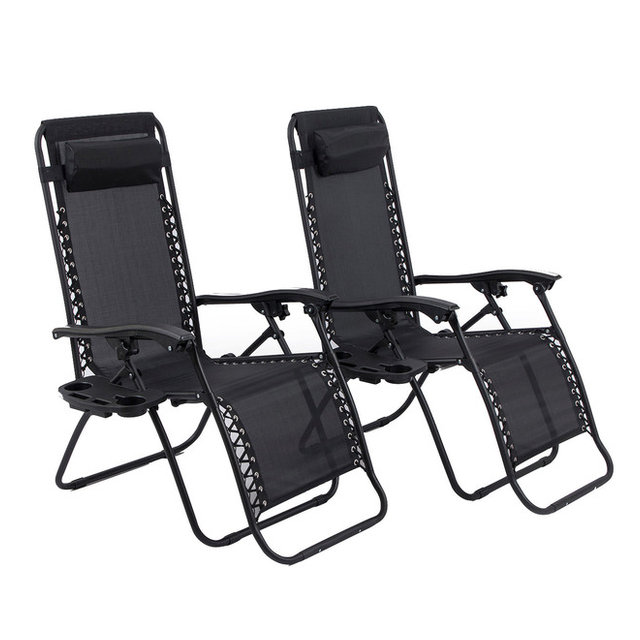 Zero Gravity Lounge Patio Chairs With Cup Holder Set Of 2