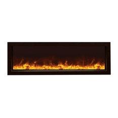 "Slim Indoor/Outdoor Electric Fireplace With Black Steel Surround, 50"""