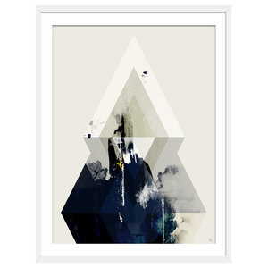 """""""Beneath The Surface"""" Abstract Art Print, White Framed, 50x70 cm"""