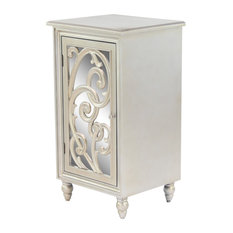 Glam Style Rectangular Silver Mirror Cabinet With Acanthus Wood Overlay