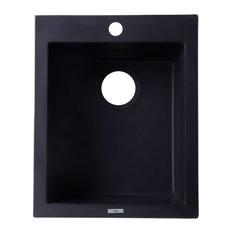"Black 17"" Drop-In Rectangular Granite Composite Kitchen Prep Sink"