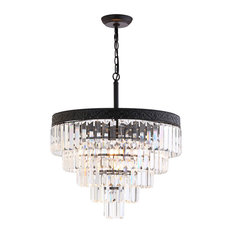 "Wyatt 20"" 4-Light Crystal Chandelier, Bronze and Clear"