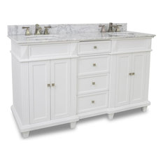 "Douglas Elements 59"" Double Sink Vanity, Painted White, White Marble"