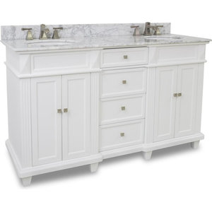 """Douglas Elements 59"""" Double Sink Vanity, Painted White, White Marble"""