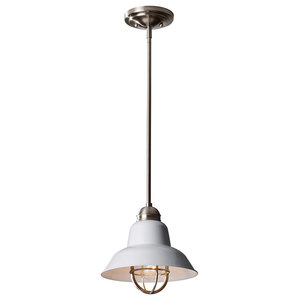 1-Light Mini Pendant, Brushed Steel and Glossy White
