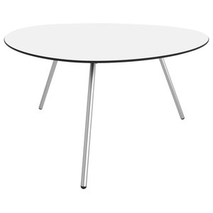 Low Dine-Alowha Dining Table, White, Stainless Steel Frame