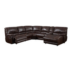 Global Furniture USA - 6-Piece Marteen Sectional Brown - Sectional Sofas  sc 1 st  Houzz : reclining sofa with cup holders - islam-shia.org